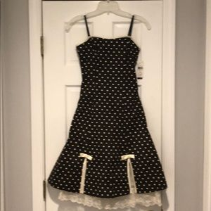 NWT Brown w/While Polka Dot and Lace Detail